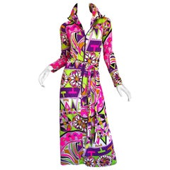 Amazing 1970s Saks 5th Avenue Eduardo Pucci Print Vintage 70s Belted Maxi Dress