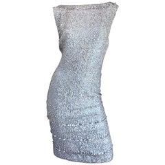 1950s Gene Shelly's Light Blue Silk Fully Sequined + Beaded Vintage 50s Dress