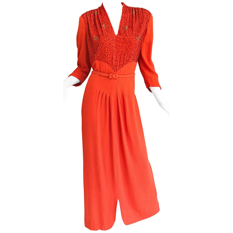 eff12192c890 1940s Kornhauser Original Burnt Orange Beaded Vintage 40s Couture Crepe Gown  For Sale