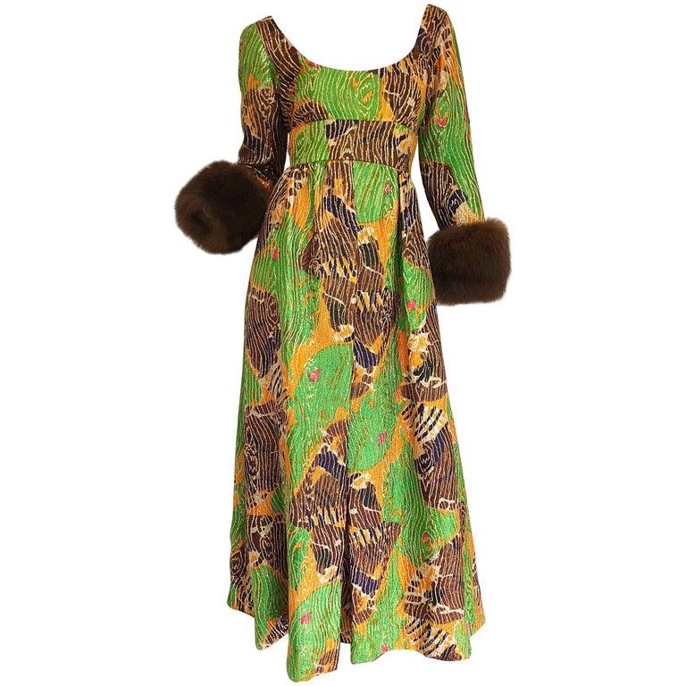 Lillie Rubin 1970s Green + Purple + Orange Silk Metallic Mink Fur Cuffs 70s Gown