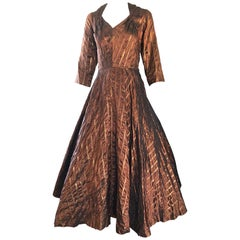 Gorgeous 1950s Donald Originals Copper / Bronze Size 10 / 12 Silk Vintage Dress