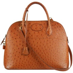 Hermes Vintage Tan Ostrich Bolide 35 Bag with Strap, 1992