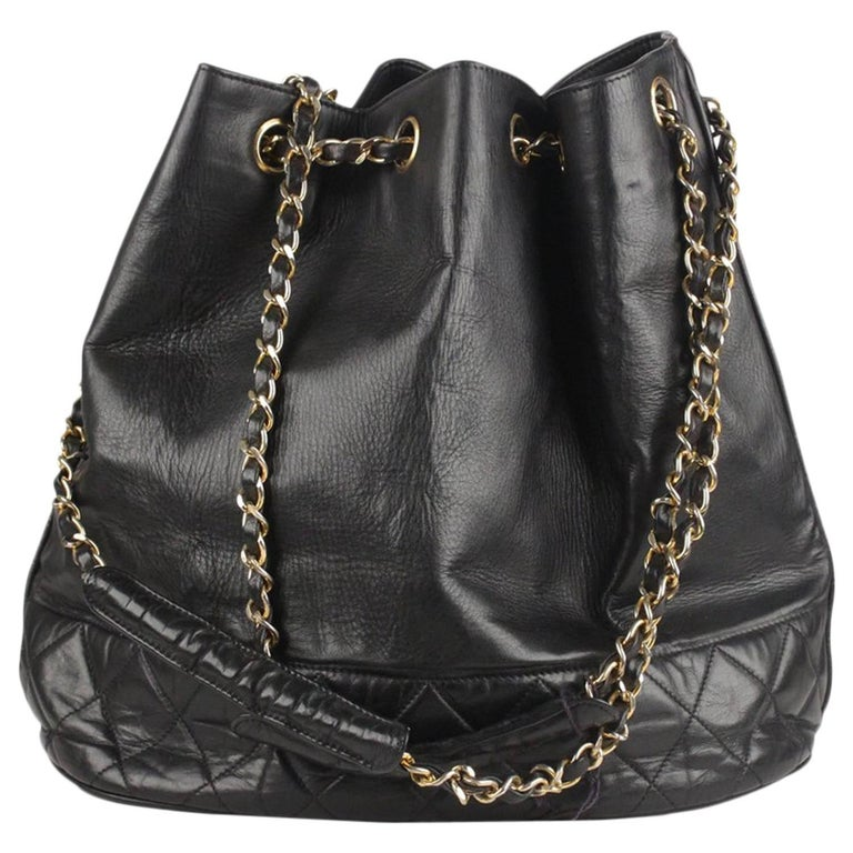 dd12e31ff0e8 Chanel Vintage Black Leather Bucket Shoulder Bag with Bottom Quilting For  Sale. This beautiful Bag will come with a Certificate of Authenticity  provided ...