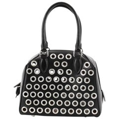 Alaia Zip Around Convertible Satchel Grommet Embellished Leather Mini