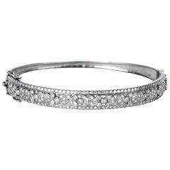 Shimmering Diamond Vintage Floral Hinged Silver Bangle Bracelet