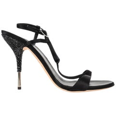 Giuseppe Zanotti Shoe Black Satin T Strap Beaded Metal Heel  41 / 11