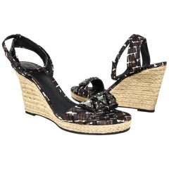 Bottega Veneta Shoe Roped Wedge Tri Color Ankle Strap 40 / 10 New