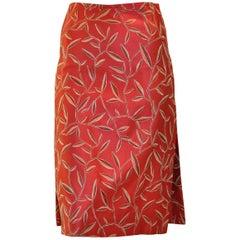 Prada Red Silk Skirt With a Leaf Pattern 38 (ITL)