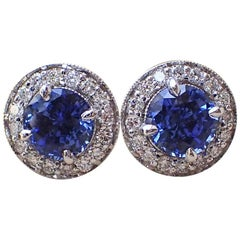 White Gold Studs - 2.21 carats Chatham-Created Blue Sapphire 0.39 carats Diamond