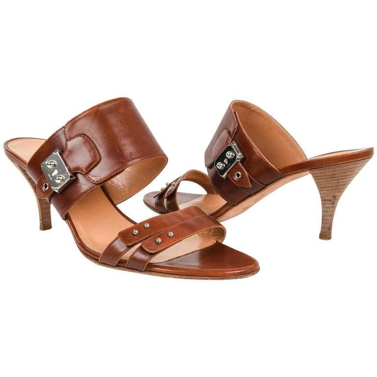 3a5359f898fe Hermes Shoe Cognac Leather Mule Palladium Hardware 41   11 For Sale ...