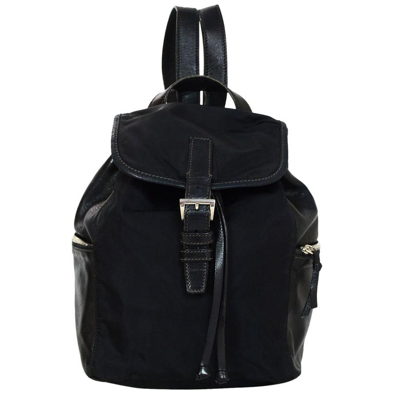 Prada Black Nylon & Leather Backpack Bag