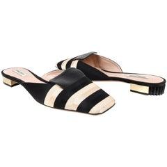 Giorgio Armani Shoe Black Gold Striped Slide Beautiful Heel 40 / 10 New