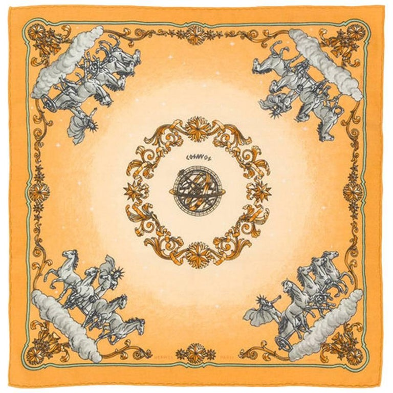 Hermes Yellow Cosmos Small Cashmere Scarf