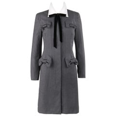 GIVENCHY Couture A/W 1996 JOHN GALLIANO Charcoal Gray Wool Bow Shirt Coat Dress