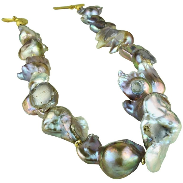 Baroque Silver Pearl Necklace For Sale