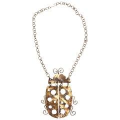 Vintage Brutalist Bug Necklace