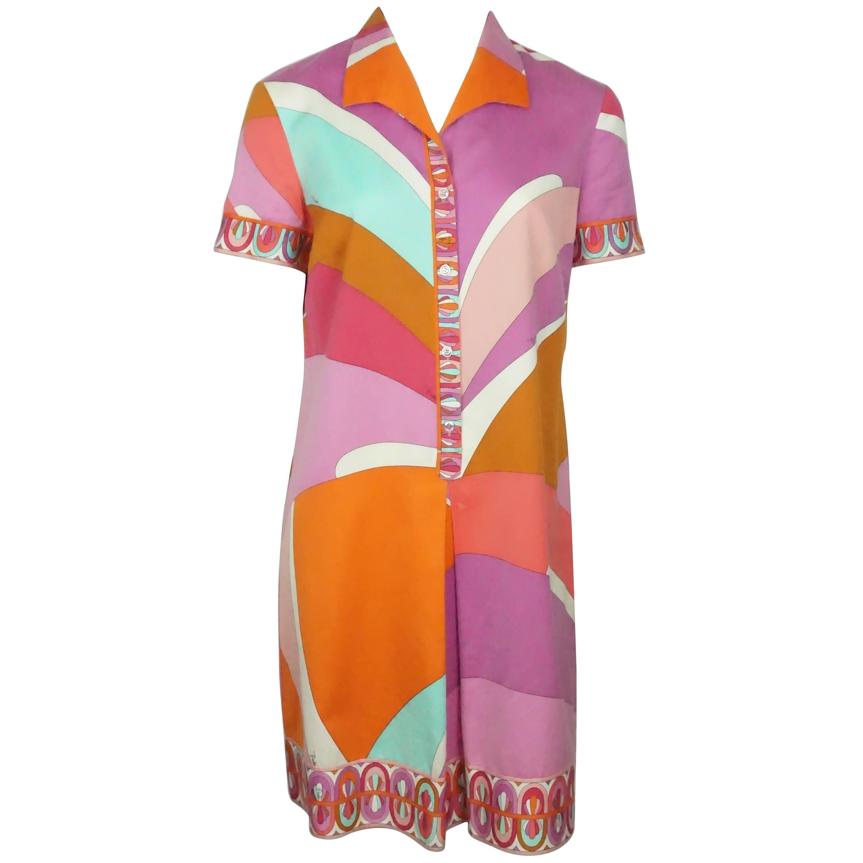 Emilio Pucci Multi Color Cotton Short Sleeve Shirt Dress