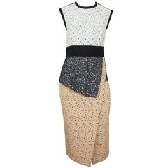 Proenza Schouler Black White and Peach Embroidered Asymmetrical Dress