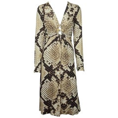 Roberto Cavalli Earthtone Snake Print Jersey Long Sleeve Dress