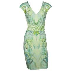 Roberto Cavalli White and Green Print Jersey Short Sleeve Dress