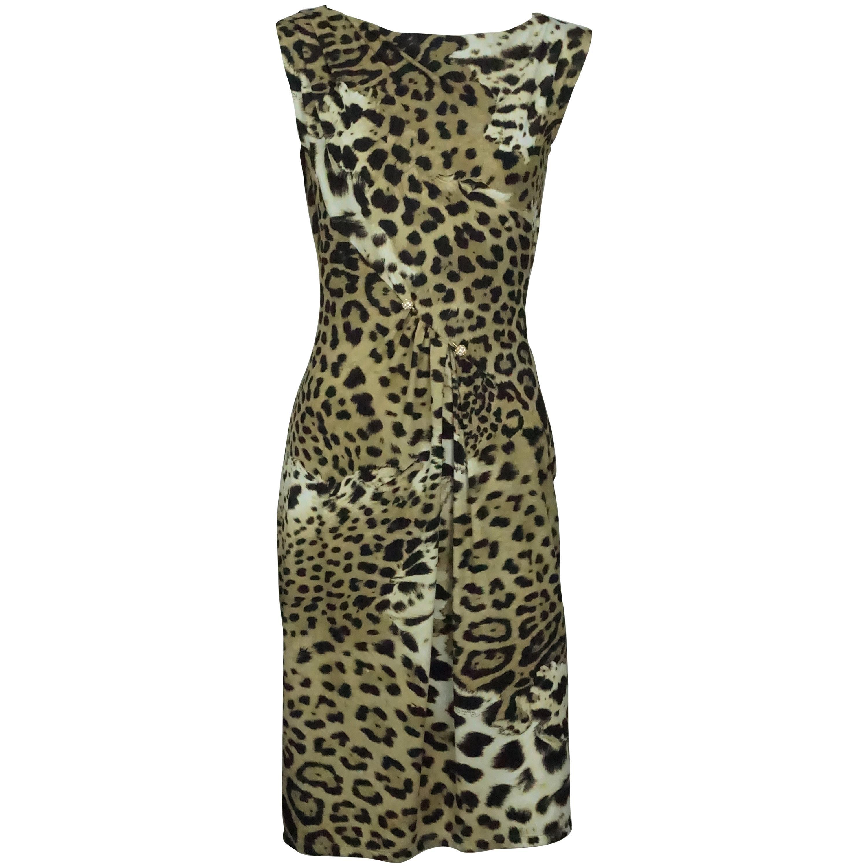 Roberto Cavalli Earthtone Animal Print Jersey Sleeveless Dress - 42