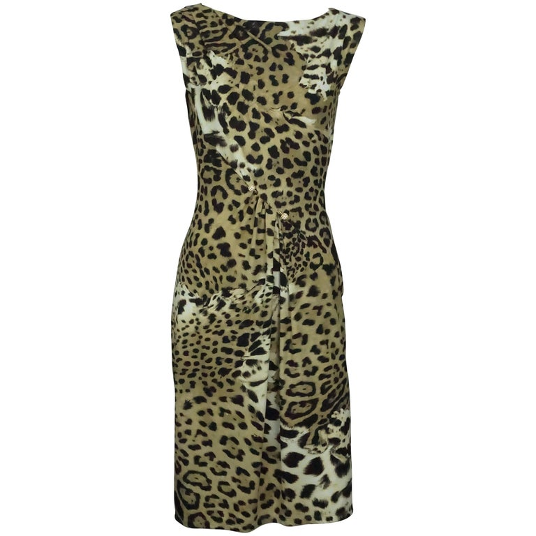 678eb07ee8 Roberto Cavalli Earthtone Animal Print Jersey Sleeveless Dress - 42 For  Sale at 1stdibs