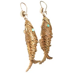 Vermeil, Turquoise, and 14k Fish earrings