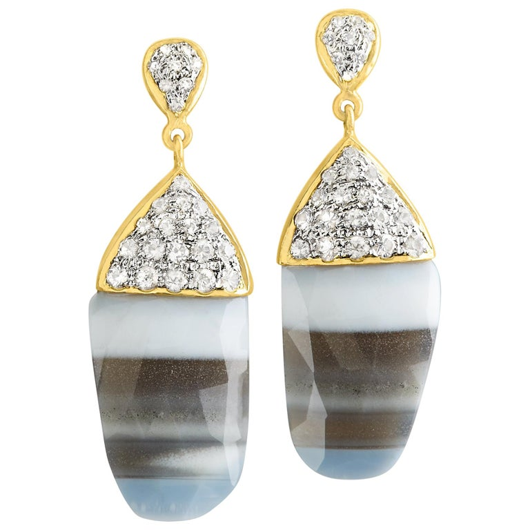 One of a Kind Striped African Opal White Sapphire Gold Earrings For Sale