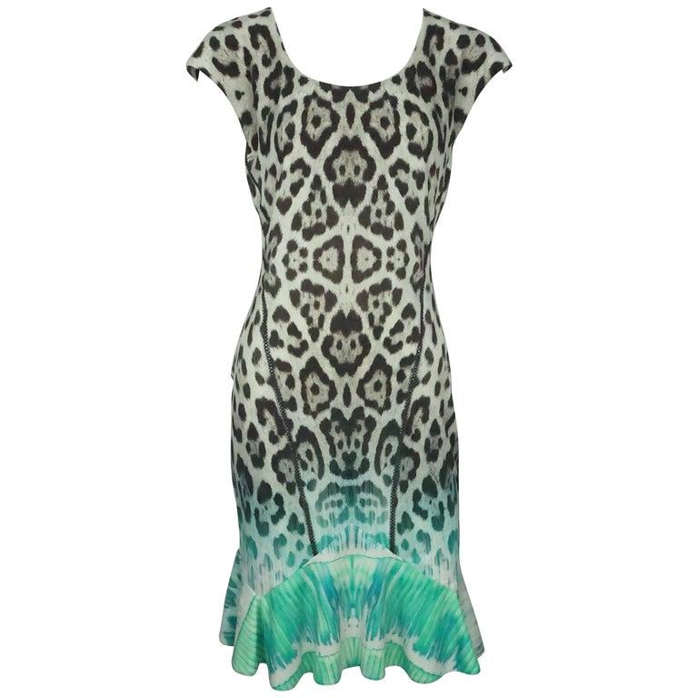 Roberto Cavalli Earthone And Green Animal Print Sleeveless Dress 42 For