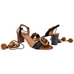 Dolce&Gabbana Shoe Rafia  Leather Ankle Tie Black  Camel 40.5 / 10.5 New