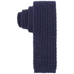 HERMES Navy Blue Wool Knit Square Necktie Tie