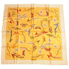 Salvatore Ferragamo Silk Scarf with Iconic Shoes, Butterflies and Daisies