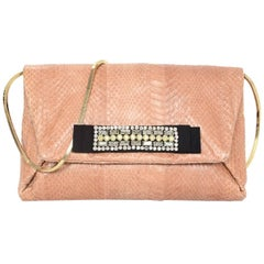 Lanvin Blush Python Clutch/Crossbody Bag w. Crystal Embellishment