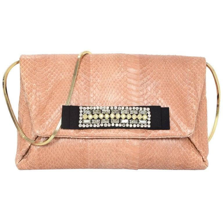 Lanvin Blush Python Clutch/Crossbody Bag w. Crystal Embellishment