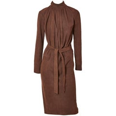 Yves Saint Laurent Rive Gauche Belted Suede Dress