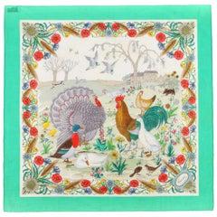 GUCCI c.1970s Vittorio Accornero Floral Bird Waterfowl Square Cotton Scarf