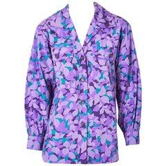Yves Saint Laurent Rive Gauche Abstract Floral Pattern Cotton Shirt