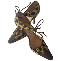 Manolo Blahnik Stiletto Heeled Shoes Leopard Print Suede Embroidery Size 35 1/2