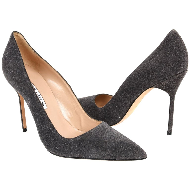 972d26d751 Manolo Blahnik Shoe Glittered Suede Pump Elephant Gray 40 / 10 New For Sale