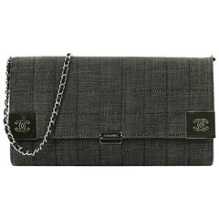 Chanel Chocolate Bar Chain Clutch Quilted Denim