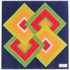 JEAN PATOU c.1960's Navy Blue Geometric Op Art Print Silk Scarf