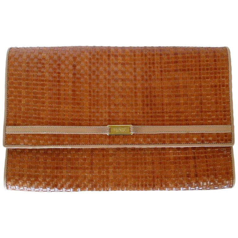 Fendi Woven Clutch, 1980s  For Sale