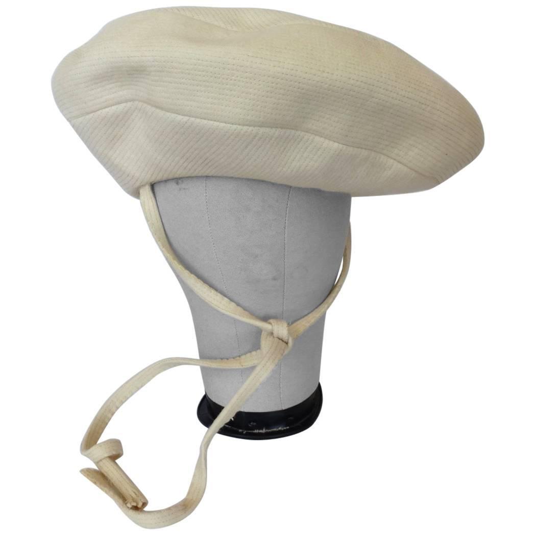 Yves Saint Laurent Mod Cream Wool Saucer Tam Hat, 1960s