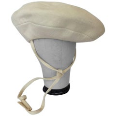 Yves Saint Laurent Mod Cream Wool Saucer Tam Hat, 1960s