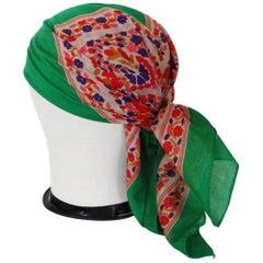 1970s Yves Saint Laurent Floral Cotton Scarf