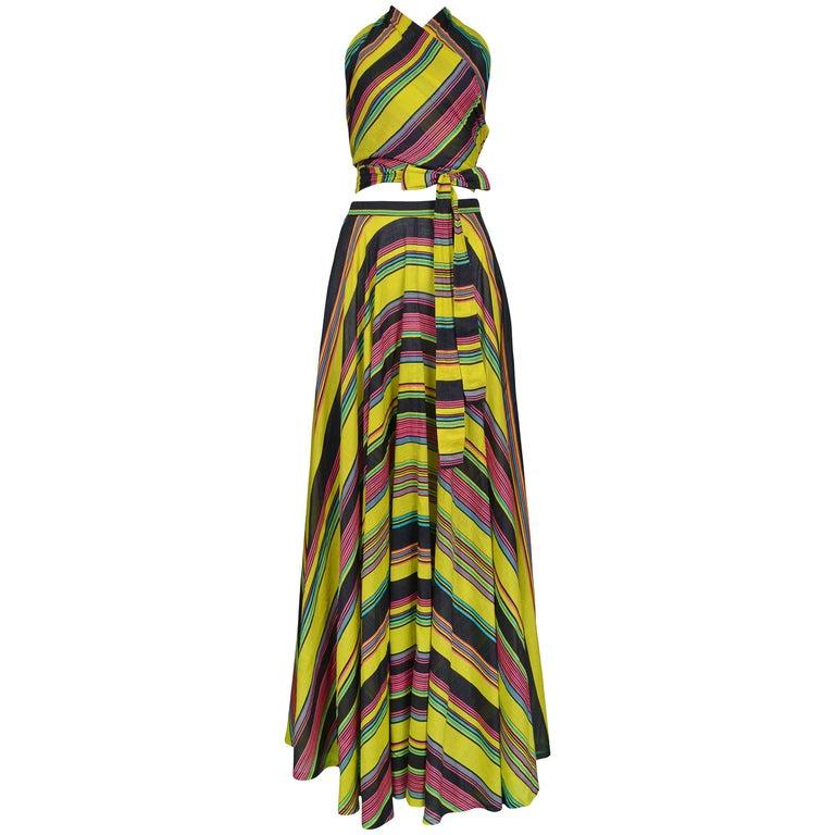Yves Saint Laurent Vintage Chartreuse Stripe Wrap Ensemble, 1970s