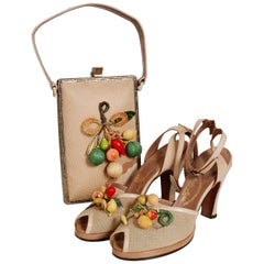1940's Colorful Fruit Applique Novelty Leather Peep-Toe Heels & Matching Purse