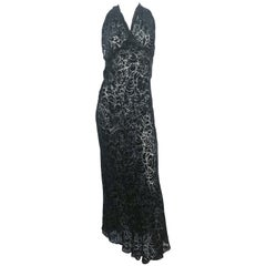 1930's Black Burnt Velvet Bias-cut Evening Gown