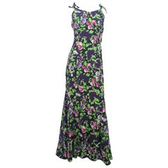 1930's Floral Printed Crepe Full-Length Dress