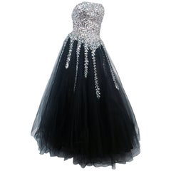 Mike Benet Black Tulle Gown with Silver Sequin Bodice, 1980s